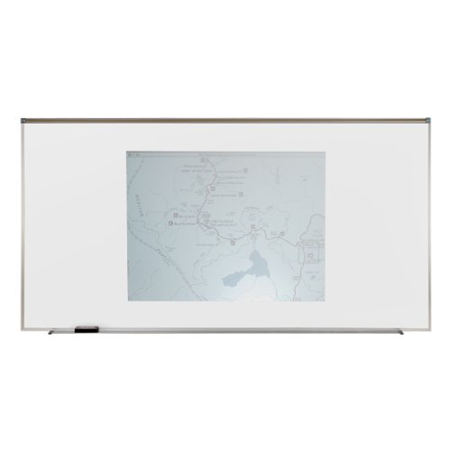 Aluminum Porcelain Magnetic Projection Whiteboard w/Map rail - 4 Markers & Eraser Size: 4'5