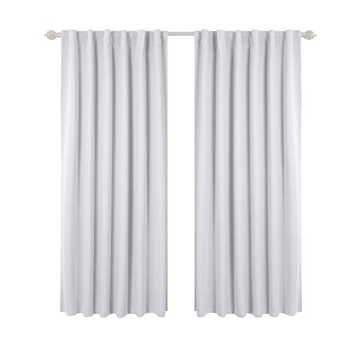 Deconovo Blackout Curtains For Kitchen Window Back Tab And Rod Pocket  Curtains Room Darkening Curtains 52x45 Inch Greyish White 2 Panels