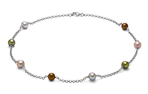 8-9mm Sterling Silver Multicolor Freshwater Cultured Pearl Tin Cup Necklace, - Fw 8mm Necklace Pearl