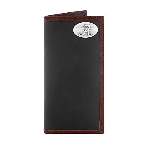 ZEP-PRO NCAA Alabama Crimson Tide, Black and Brown Leather Roper Concho Wallet, One Size