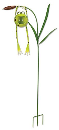 Sunset Vista Designs Froggy Hanging From Cattail Garden Stake With Solar Powered Light, 48''