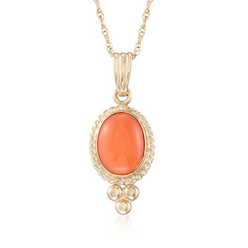 Ross-Simons Coral Rope Bezel Pendant Necklace in 14kt Yellow Gold
