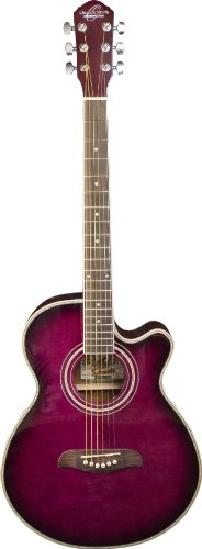 Oscar Schmidt 6 String OG10CE Cutaway Acoustic-Electric Guitar. Flame Trans Puple, Flame Transparent Purple (OG10CEFTPB-A)