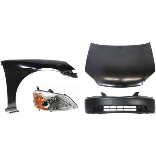 Bumper Cover Kit Compatible With 2001-2003 Honda Civic Right Side Headlight and Fender Front Bumper Cover Hood