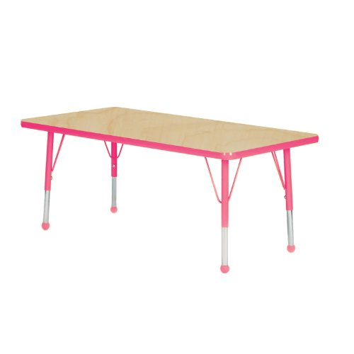 Mahar Kids 36'' X 60'' Rectangle Table Top Color: Maple, Edge Color: Fuchsia, Leg Height: Toddler 16''-24'', Glide Style: Ball by Mahar