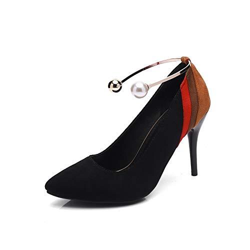 ZHZNVX Zapatos de Mujer Suede Spring & Fall Bomba básica Tacones Tacón de Aguja Punta Estrecha Perla de imitación Negro/Rojo / Fiesta y Noche/Color Block Black