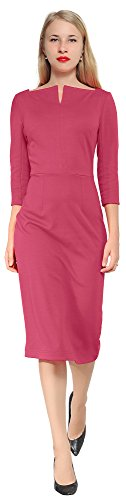 Work Women's Red Square Marycrafts Neck Office Sheath Business Dress Midi Pink HqRwp5wd