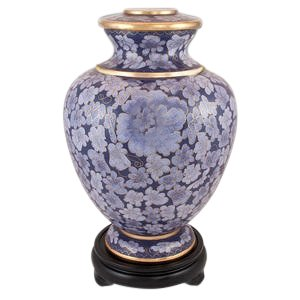 Perfect Memorials Purple Flowers Cloisonne Cremation Urn Wood Base