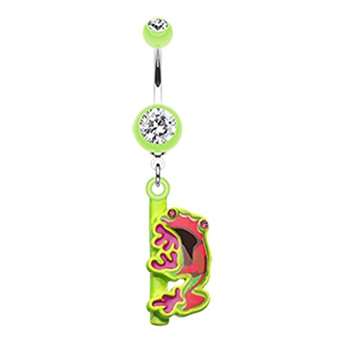 Ring Dangling Frog Button Belly - Covet Jewelry Dangling Gem Frog Belly Button Ring (14 GA, Length: 10mm, Light Green)