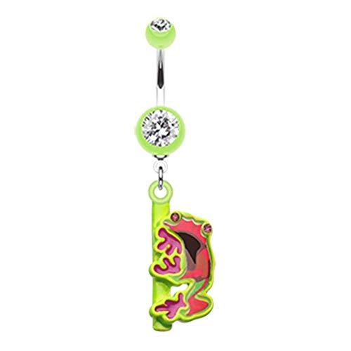 Covet Jewelry Dangling Gem Frog Belly Button Ring (14 GA, Length: 10mm, Light Green)