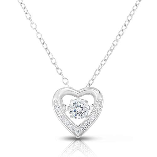 (Unique Royal Jewelry 925 Sterling Silver Floating Cubic Zirconia Heart Pendant and Necklace Adjustable to Length of 16