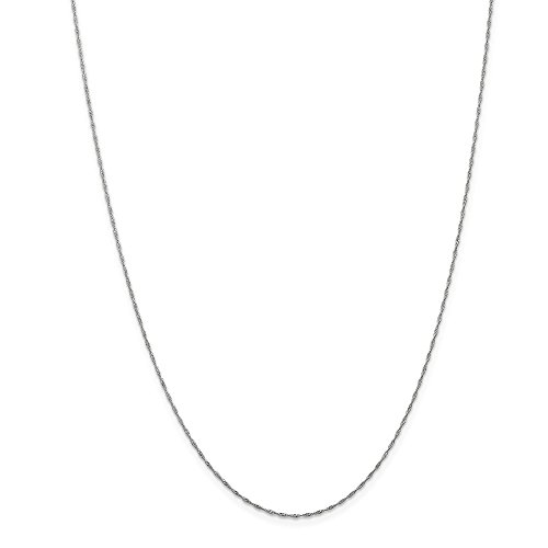 14k Gold Solid Diamond-Cut Singapore Chain Necklace with Spring Ring (0.9mm) - White-Gold, 14 -