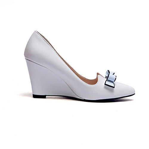 BalaMasa Girls Bowknot metallo solido in vernice pumps-shoes, Bianco (White), 35 EU