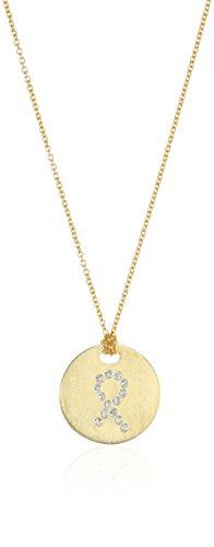 18K Yellow Pave Diamond Ribbon of Hope Tiny Treasure Necklace (Diamond Roberto / Necklace 18k Coin)