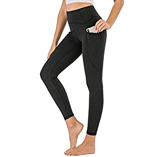 XDO High Waist Yoga Pants for Women with Pockets, Non See-Through Workout Sports Leggings 4 Way Stretch Tights(Black, Mudiem)