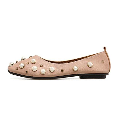 Dameskant Suède Vierkante Teen Ballet Jurk Loafers Platte Instapper Klassieke Strass Casual Loafer Schoenen Roze