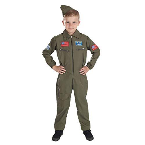 fun shack Boys Military Pilot Costume Kids Aviator Flightsuit Air Cadet Uniform - -