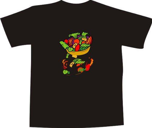 T-Shirt E149 schwarz T-Shirt mit farbigem Brustaufdruck L - Logo / Grafik - großer bunter Salatteller