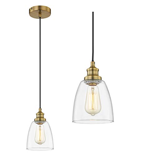 WOXXX Brass Pendant Lighting for Kitchen Island Bedroom Industrial Farmhouse Pendant Light with Clear Glass Shade…