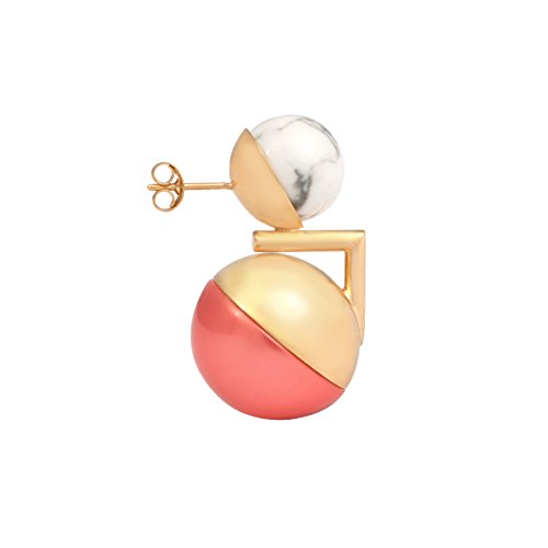 Leivankash Boucles d'Oreilles Plaqué Or Ronde Perle Orange Femme