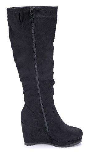 Schuhtempel24 Damen Schuhe Keilstiefel Stiefel Stiefeletten Boots Keilabsatz 9 cm Schwarz