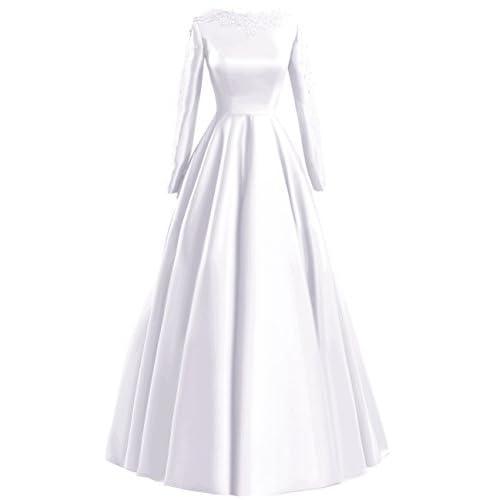 Fluorodine Women's Lace Long Sleeve Long A Line Satin Prom Dress Evening Gown