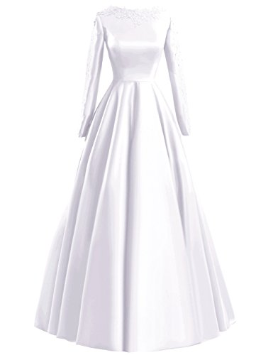 Fluorodine Women's Lace Long Sleeve Long A Line Satin Prom Dress Evening Gown US18W White (Size Satin Plus Dresses)
