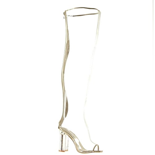 Toe sexy Moda brillante Beige alto Angkorly ancho brillantes Botas 10 Zapatillas Tacón Altas CM transparente mujer Talón Peep de Botas 8gqBw4p