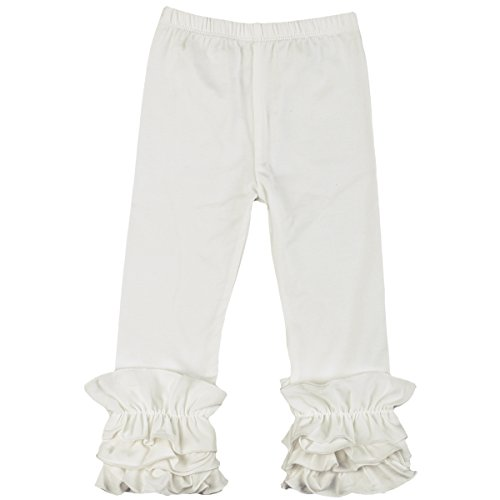 Little Big Girl Icing Ruffle Pants Boutique Ruffle Leggings Cotton Trousers Activewear Playwear Birthday Party Off-White 3-6 -