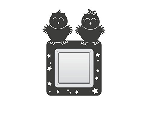 Wandtattoo Schalter-Steckdosentattoo Eulen Nr 1 Eulen Tattoo Aufkleber Kinderzimmer Dekoideen Lichtschalter Steckdosenschalter Eulensticker Eulenaufkleber Größe 11x30 cm | dreier Hochformat, Farbe Flieder