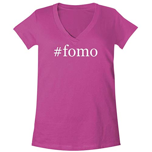 - #FOMO - A Soft & Comfortable Women's V-Neck T-Shirt, Fuchsia, XX-Large