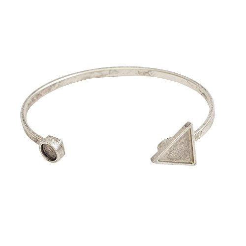 celet, Triangle Bezel 15mm/Circle Bezel 8mm, 1 Bracelet, Antiqued Silver (Bezel Circle Bracelet)