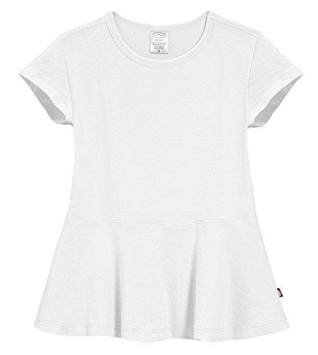 Shirt City Threads (City Threads Big Girls' Cotton Short Sleeve Peplum Top Blouse Shirt For Summer Play School Parties Stylish SPD Sensory Friendly, White, 7)