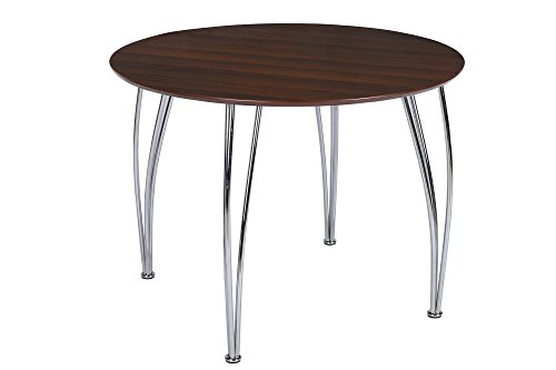 Novogratz Bentwood Round Dining Table with Chrome Plated Legs, Espresso Brown (Round Dinette Sets)