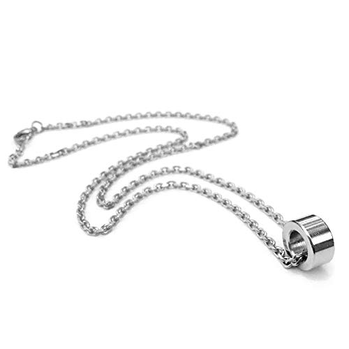 Loralyn Designs Simple Mens Ring Circle Pendant Necklace 3mm Stainless Steel Chain ()