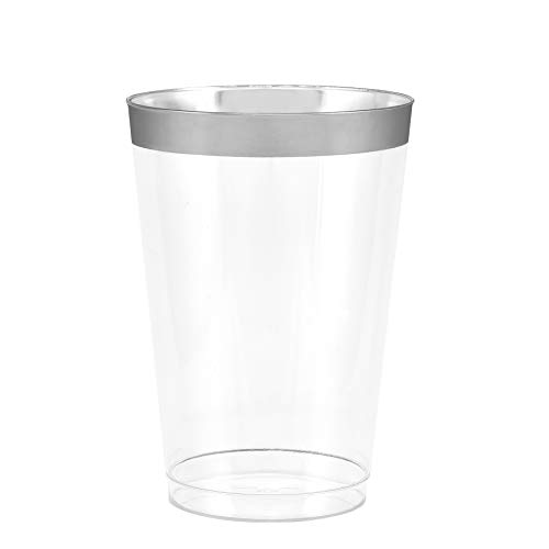 50 Silver Rimmed Clear Hard Plastic Cups | 14 oz. Fancy Disposable Wedding Tumblers for Party & Wedding -
