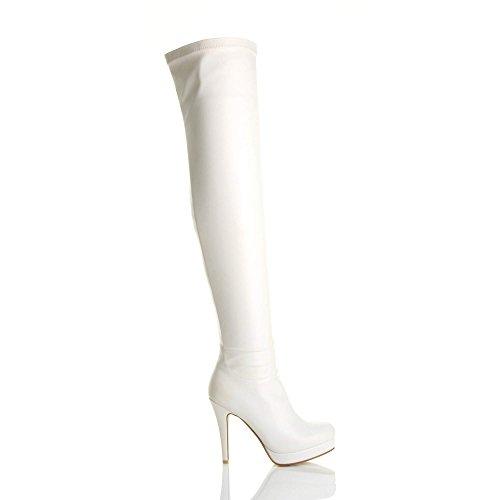 Ajvani Damen Hoher Absatz Elastisch Plateau Overkneestiefel über Knie Oberschenkel Stiefel Größe Weiß Matt
