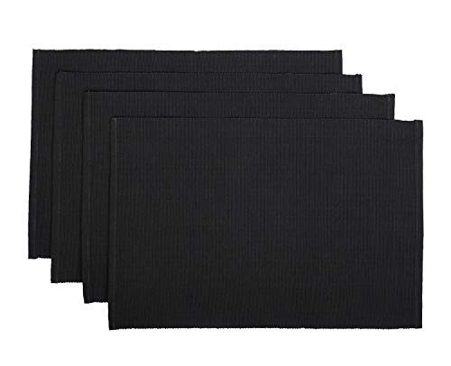RAJRANG Grey Cotton Placemats for Dining Table Mat Set of 4 Pieces   13 x 19 Inches