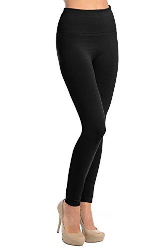 High Waisted Fleece Leggings (Black, Plus)