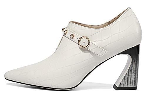 Fibbia Rivetto Alto Beige Shiney Tacco Nuova Leather A Punta Con Shoes Women's Single Metallica qSwwXYpR