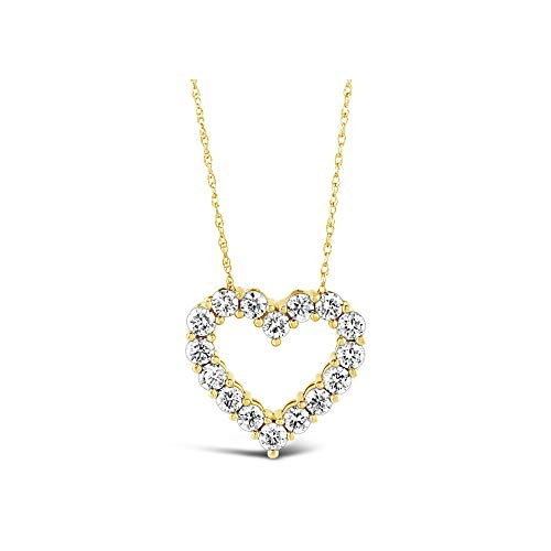 Brilliant Expressions 14K Yellow Gold 1 Cttw Colorless Lab Created Conflict Free Diamond Open Heart Pendant Necklace (E-F Color, VS2-SI1 Clarity), Adjustable Chain 16-18 inch