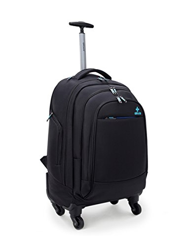 Ailouis Rolling Backpack Carry On Luggage Suitcase 19 Inch for Laptops 17-Inch with Rain Cover, Black (4 wheels)
