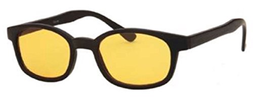 Men and Women Unisex Yellow Night Driving Spring Temple Wayfarer Sunglasses Eyeglasses, Yellow Lens for Better Night Vision, Black Wide Fit (Microfiber Pouch - Glasses Temple Wide