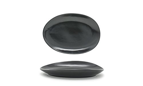 """Front of the House DSP033BKP22 FOH, Tides Plate, 1.25"""" Height, 5.5"""" Width, 8"""" Length, Mussel (Pack of 6)"""