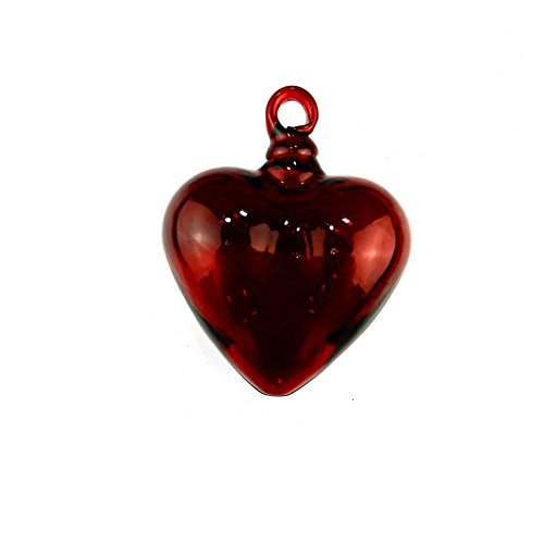 Hand Blown Heart 1 Red Large 4 X 4.5 (Red Glass Heart Ornaments)