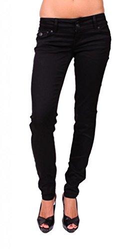 (Celebrity Pink Women Black Skinny Jeans with Flap Coin Back Pockets 1 Black)