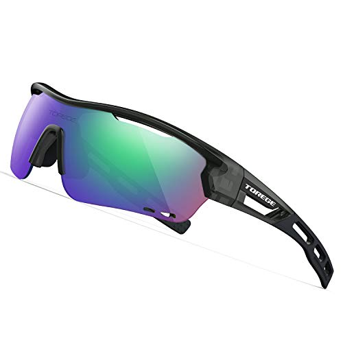 TOREGE Polarized Sports Sunglasses with 3 Interchangeable Lenes for Men Women Cycling Running Driving Fishing Golf Baseball Glasses TR33 Storm Chaser from TOREGE