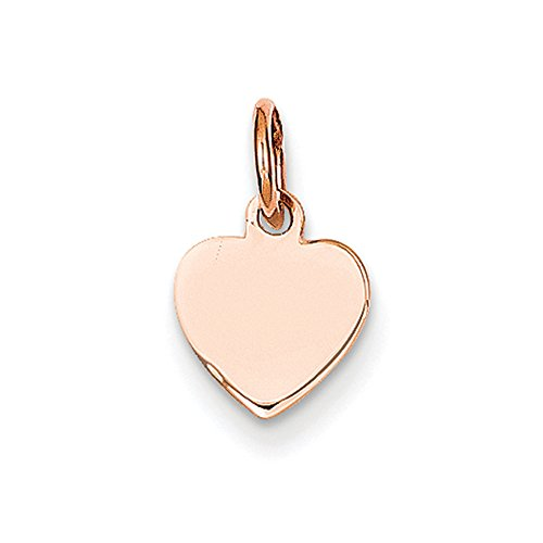 14k Rose Gold Heart Disc Charm or Pendant, 8mm Heart Disc 14k Gold Charm