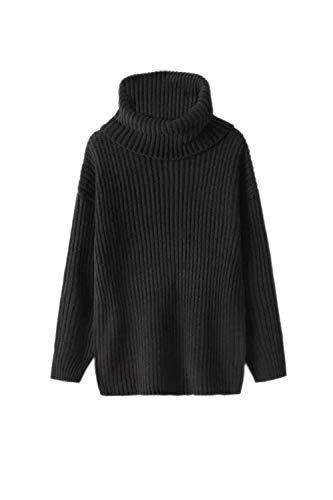Zhrui Sweaters Taille Unique en manches Winter couleur V Hauts longues avec Orange à For Women Noir Warm col UUgrwqp