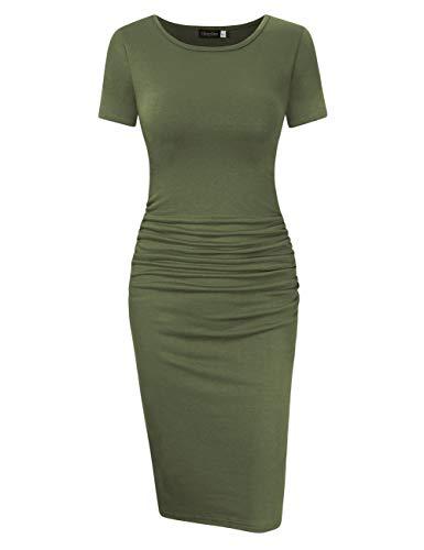 (GloryStar Women's Sleeveless Short Sleeve Ruched Midi Bodycon Sheath Pencil T Shirt Dress (L, Short Sleeve Army Green))